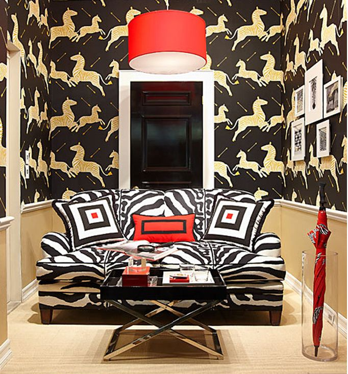 Exciting Scalamandre Zebra Wallpaper In The Living Room