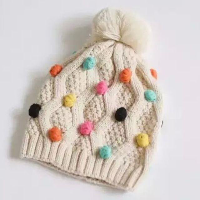 Niños gorros Otoño invierno de algodón de Color Beige de punto ...