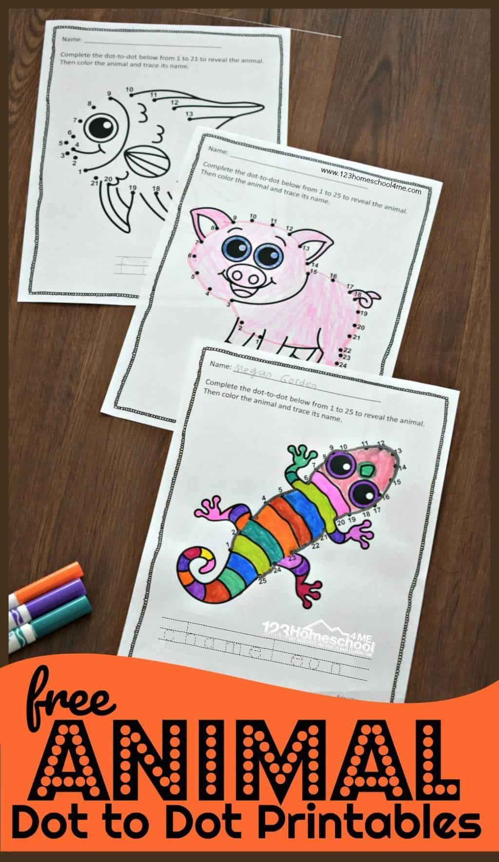 Animal Dot To Dot Printables In