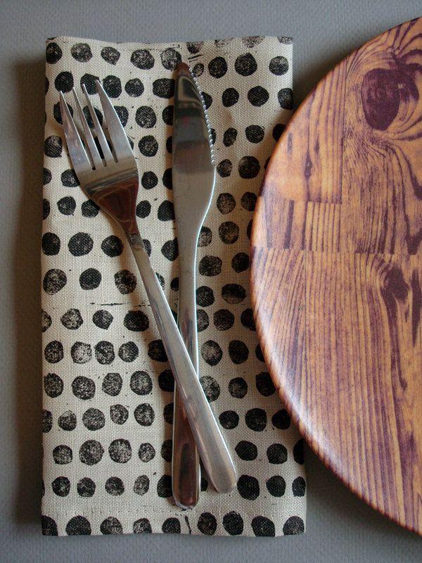 block printed linen napkins. set of four. black pebbles on oatmeal. via Etsy.