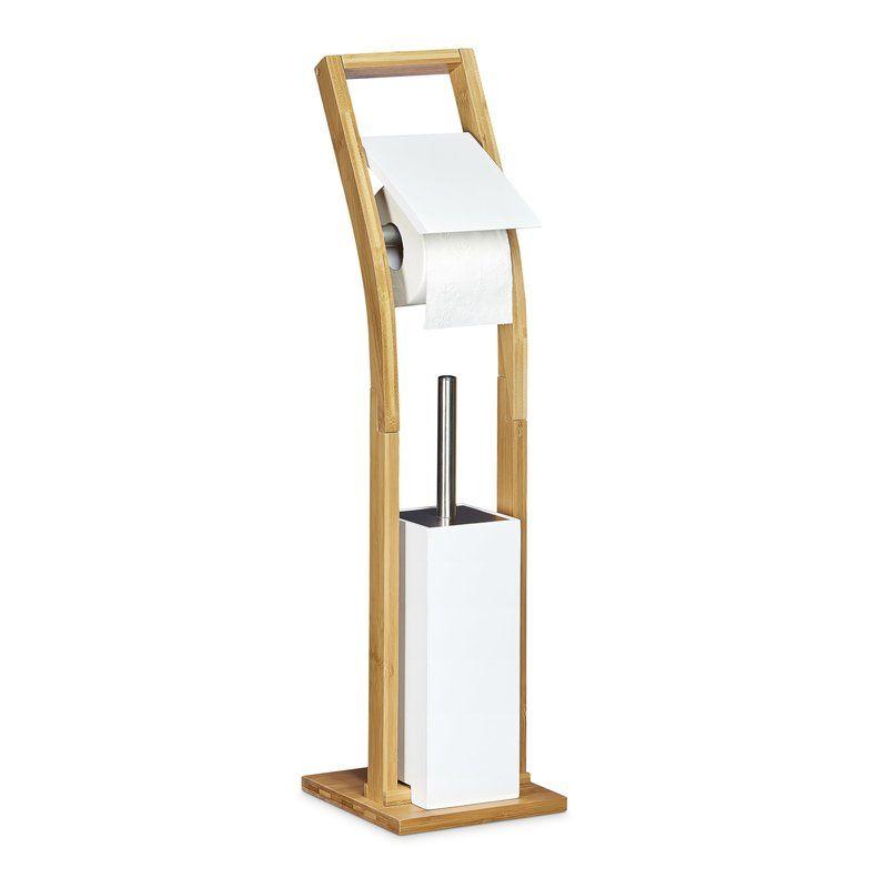 Erstaunlich Dieses Freistehende Toilettenbürsten Set Wurde Aus Naturbelassenem Bambus  Gefertigt Und Mit Weiß Lackiertem Holz Abgerundet