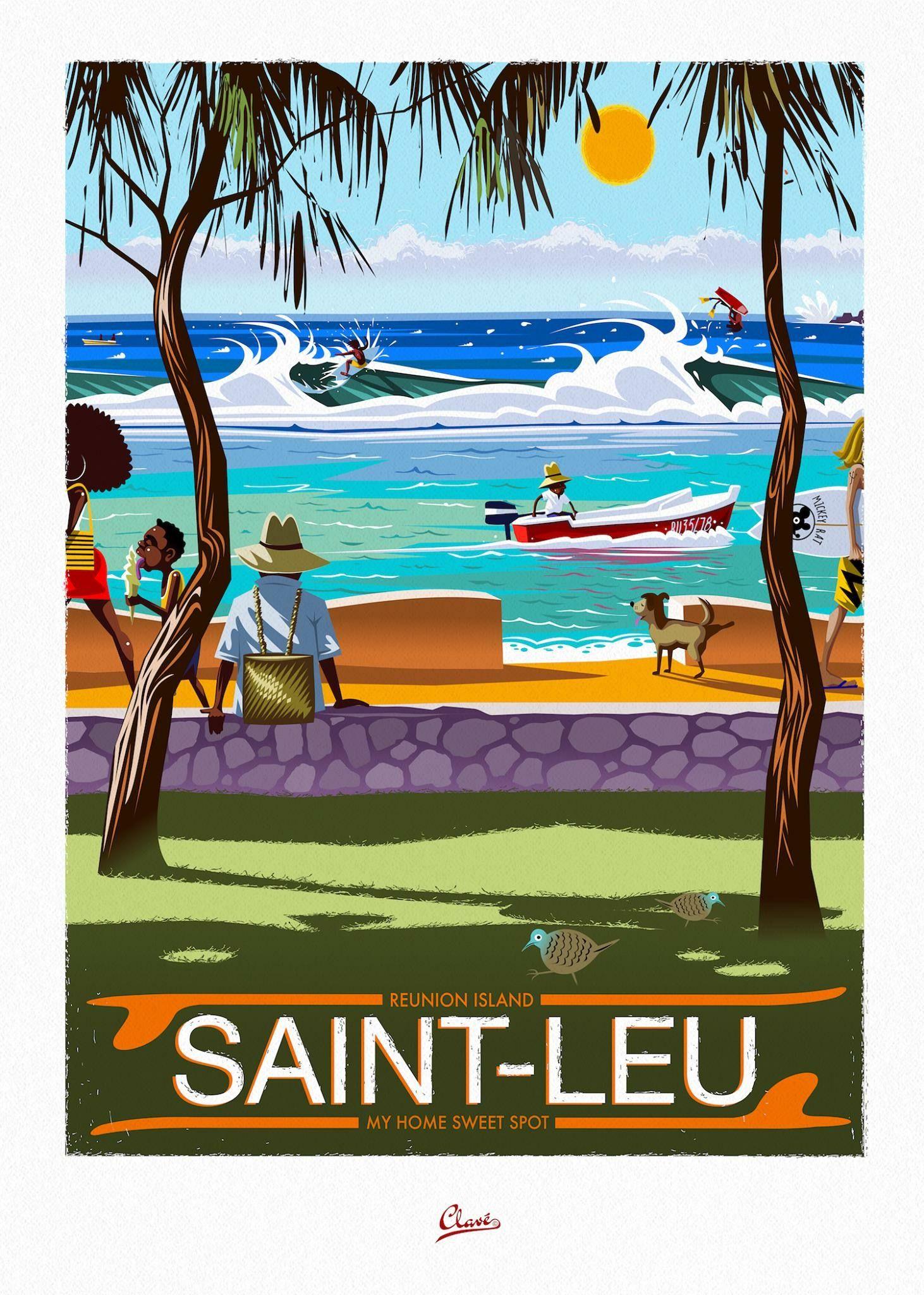Affiche Ancienne Pour Salle De Bain damien clavé | affiches de voyage, poster surf
