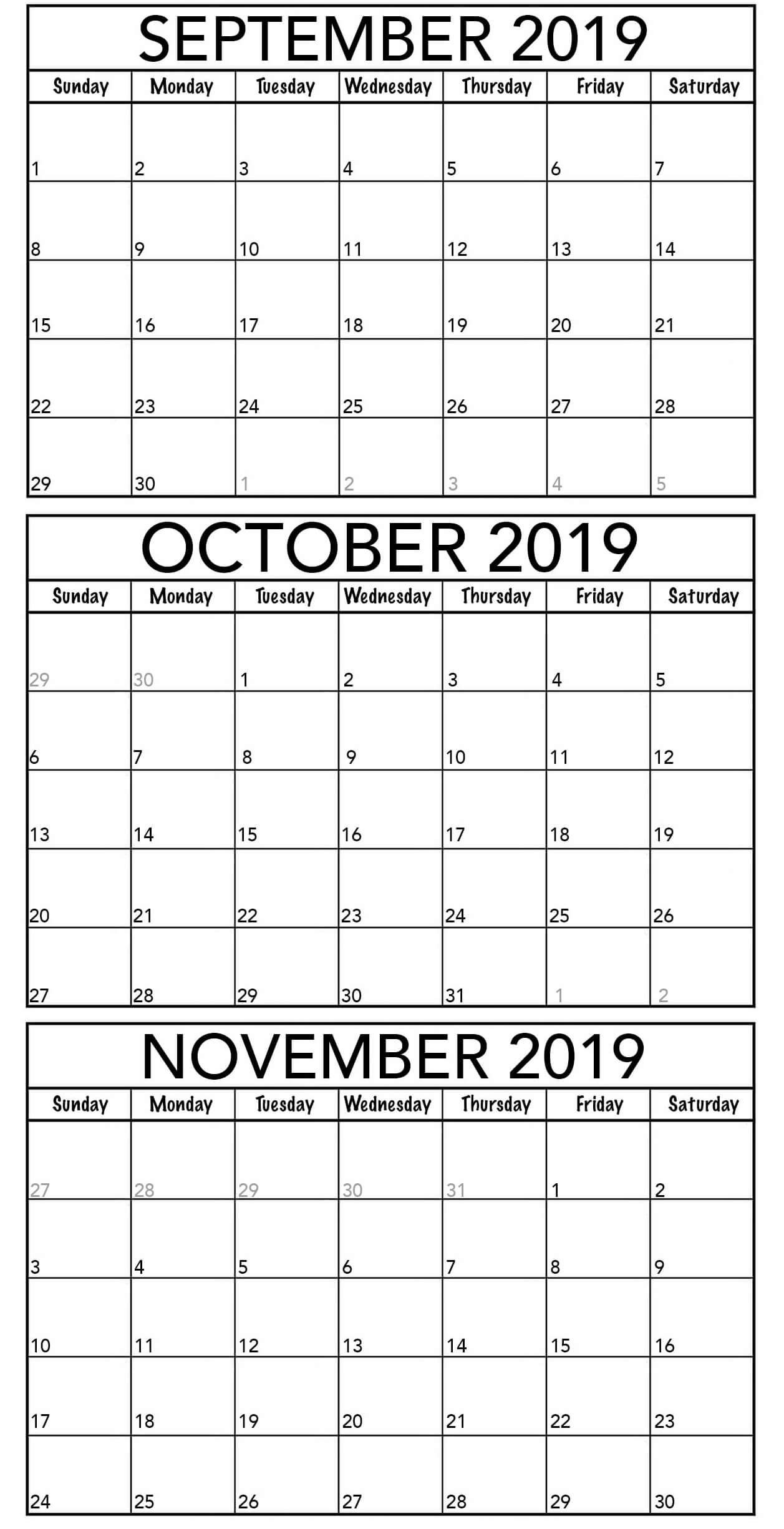 Blank September October November 2019 Calendar Template 2019