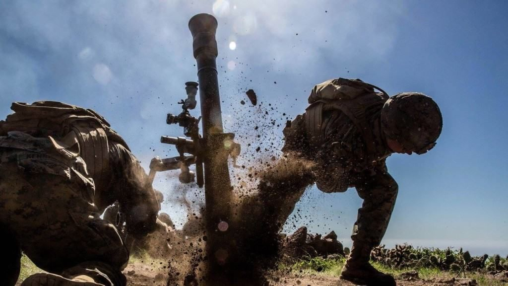 Pfc. Bradley Brandes, a mortarmen with Weapons Company, 1st Battalion, 4th Marine Regiment, fires an 81mm mortar system during the supporting arms coordination exercise (SACCEX) portion of Exercise Iron Fist 2016 on San Clemente Island.  U.S. Marine Corps photo by Lance Cpl. Devan K. Gowans,