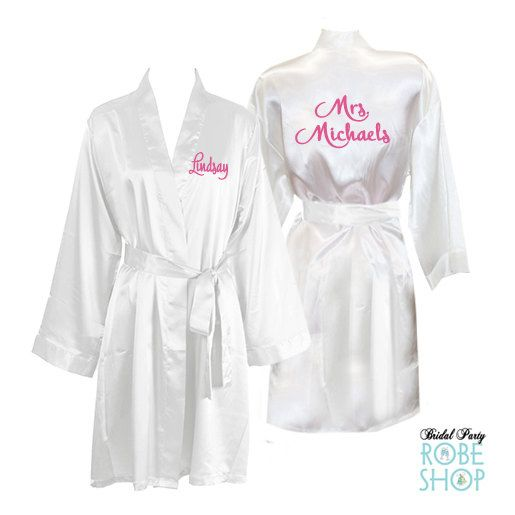 Personalized Knee Length Satin Bridal Robe With Name On Front And Back Bride
