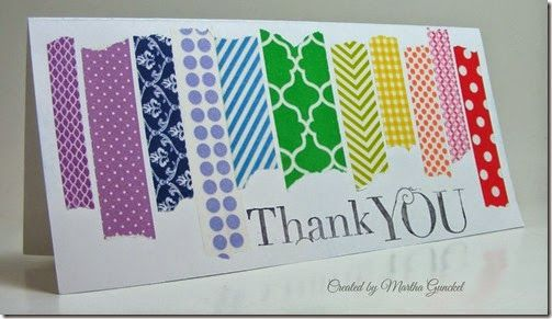handmade thank you card ... lots of pieces of brigfhtly colored washi tape in various torn lengths stand side by side  ... short and wide card ... bright and beautiful ... great card! ... Stampin'Up!