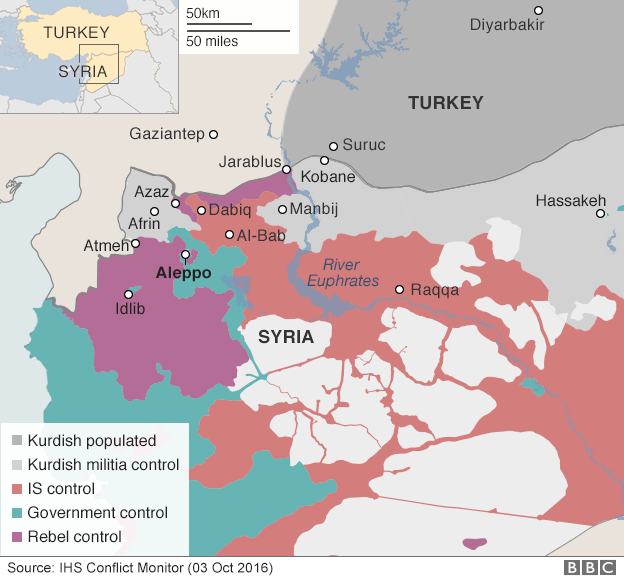 map showing control of northern syria 3 october 2016