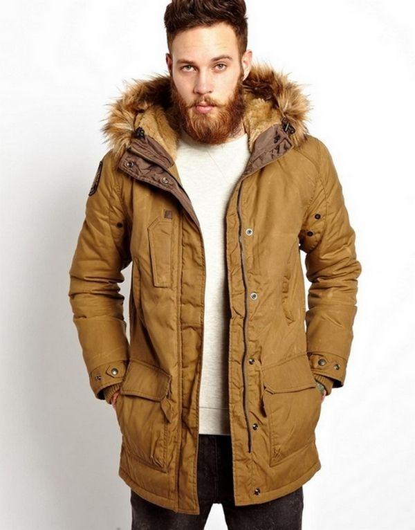 Fur Hood Coat Mens Winter Fur Coats Mens Parka Faux Fur Jacket