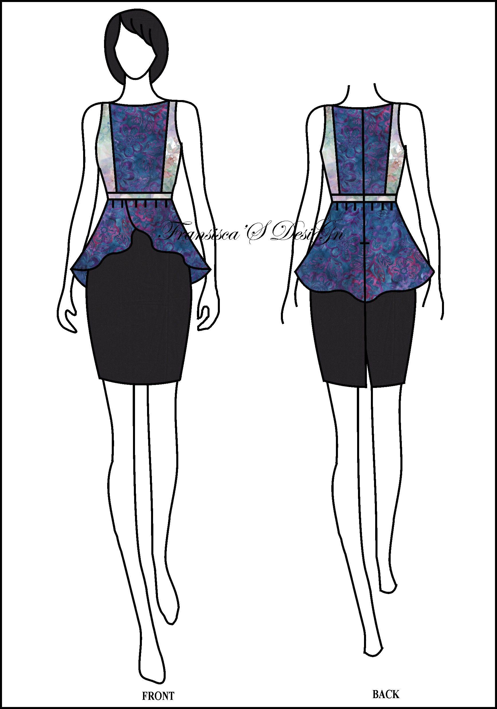 Blouse peplum asimetris kombinasi potongan dada. #FashionDesigner