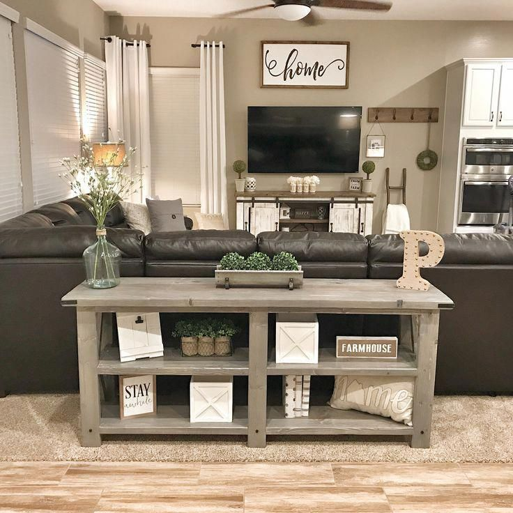 My Husband Has Done It Again Our Beautiful Farmhouse Sofa Table Is Complete Farmhousesty Farmhouse Decor Living Room Farm House Living Room Home Living Room