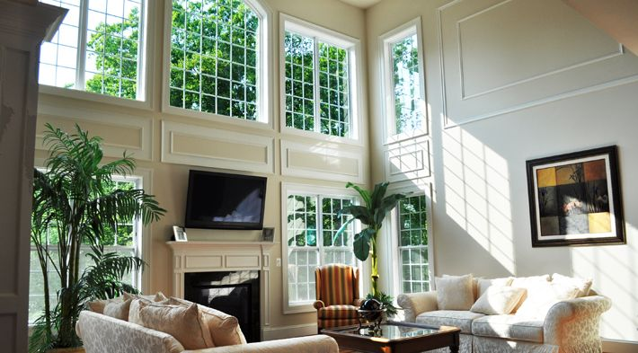 Drape idea for two story bay window - molding between ...