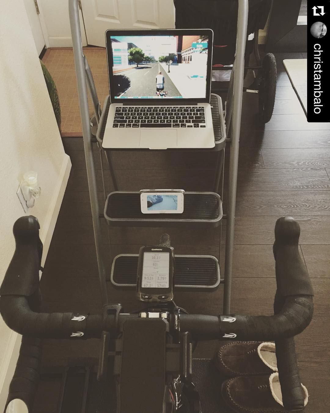 Ingenious Zwift set-up! #Repost @christambalo with
