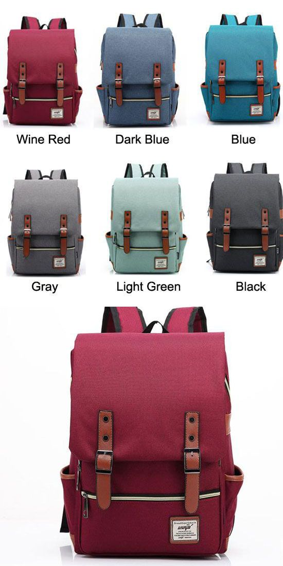 Retro Large Travel Backpack Leisure Leather Canvas Backpack