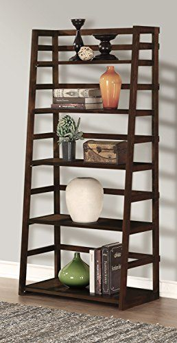 Simpli Home Acadian Ladder Shelf Bookcase Rich Tobacco Brown View Larger 30 Inch Wide