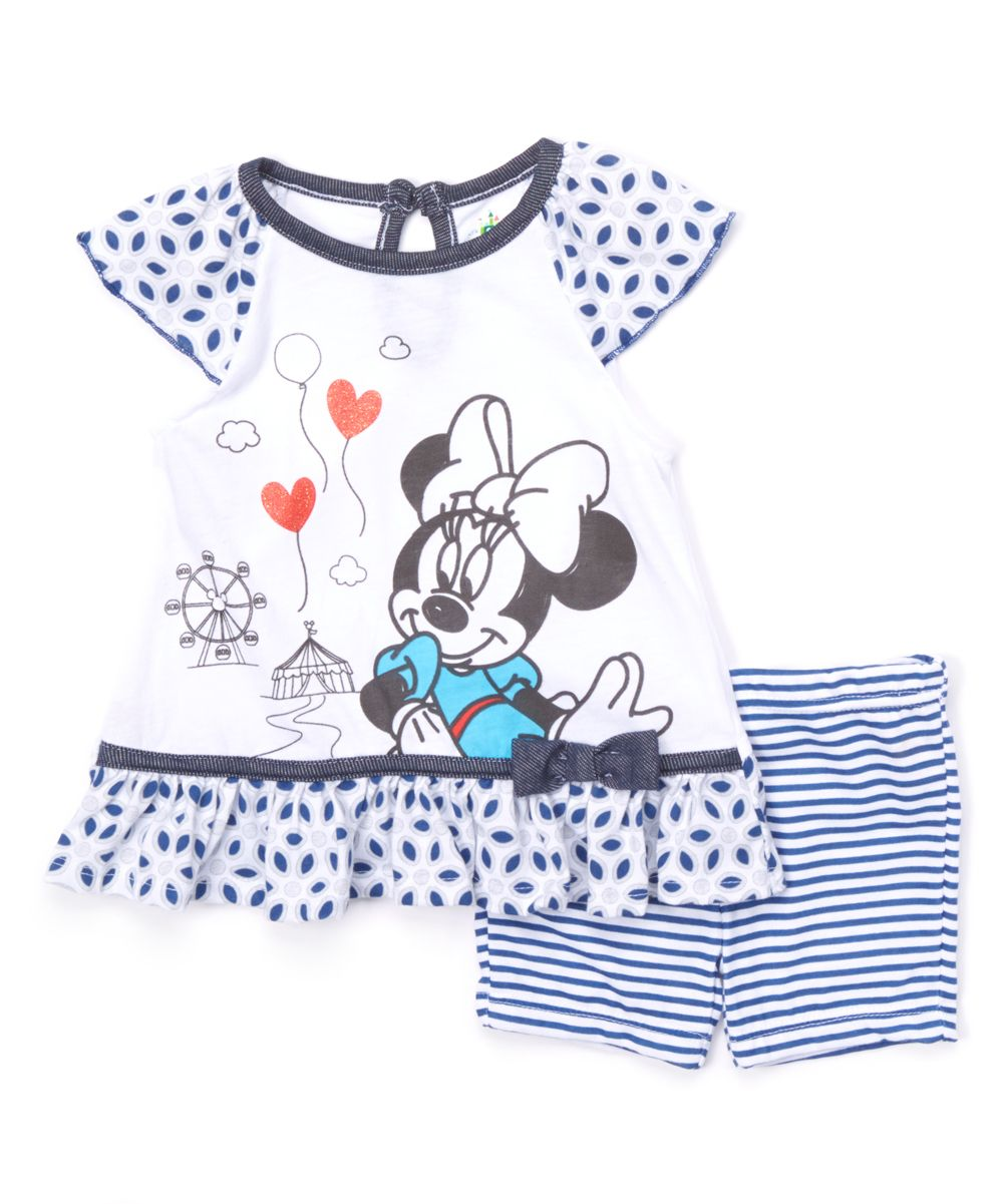 7a1901df27cf Disney Baby White Minnie Mouse Skirted Tunic   Blue Shorts - Infant ...