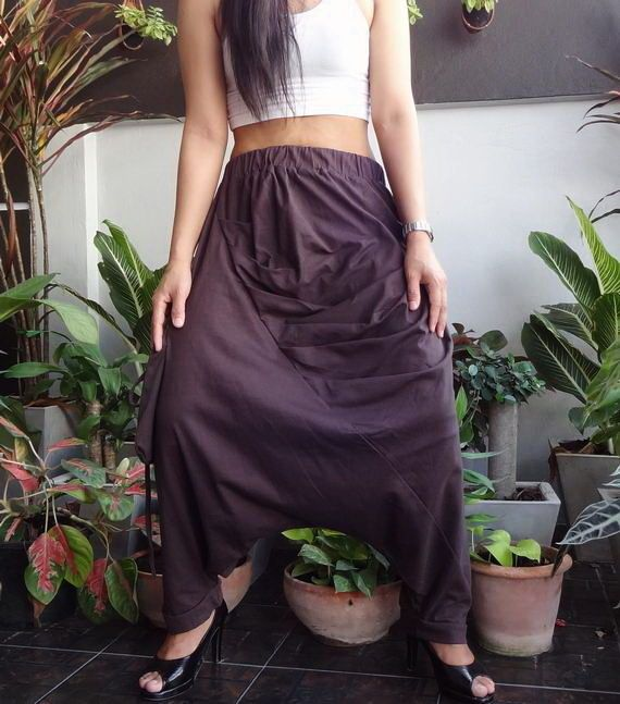 Brown European Style Harem pants,Unise Ninja Pleated Trousers, in Cotton Jersey. #TribalFashion #CasualDropCrotchPantsEuroStyle