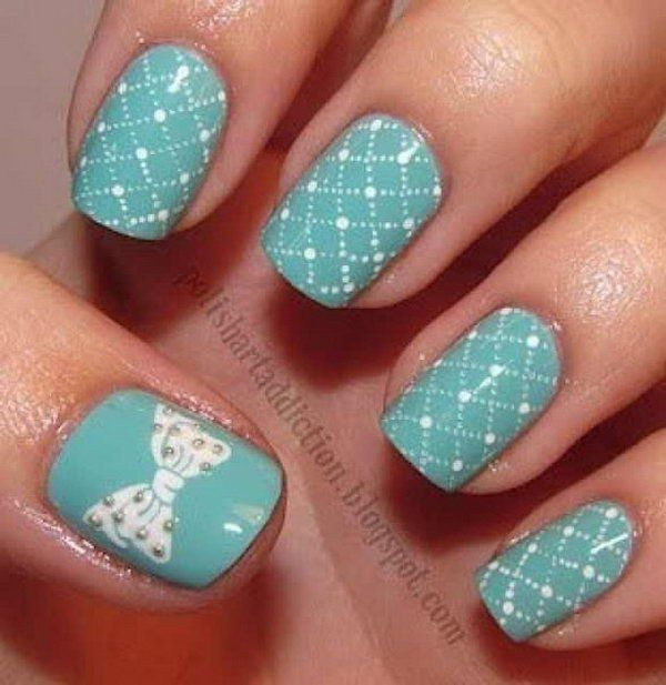 Tiffany Blue with Bow Nails. Get the tutorial - Tiffany Blue With Bow Nails. Get The Tutorial Nail Art