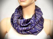 Blue silk scarf with print - Infinity scarf