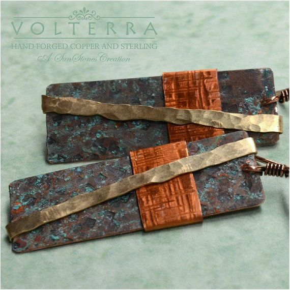 Hammered Rustic Earrings with Mixed Metal by SunStones on Etsy, $22.00