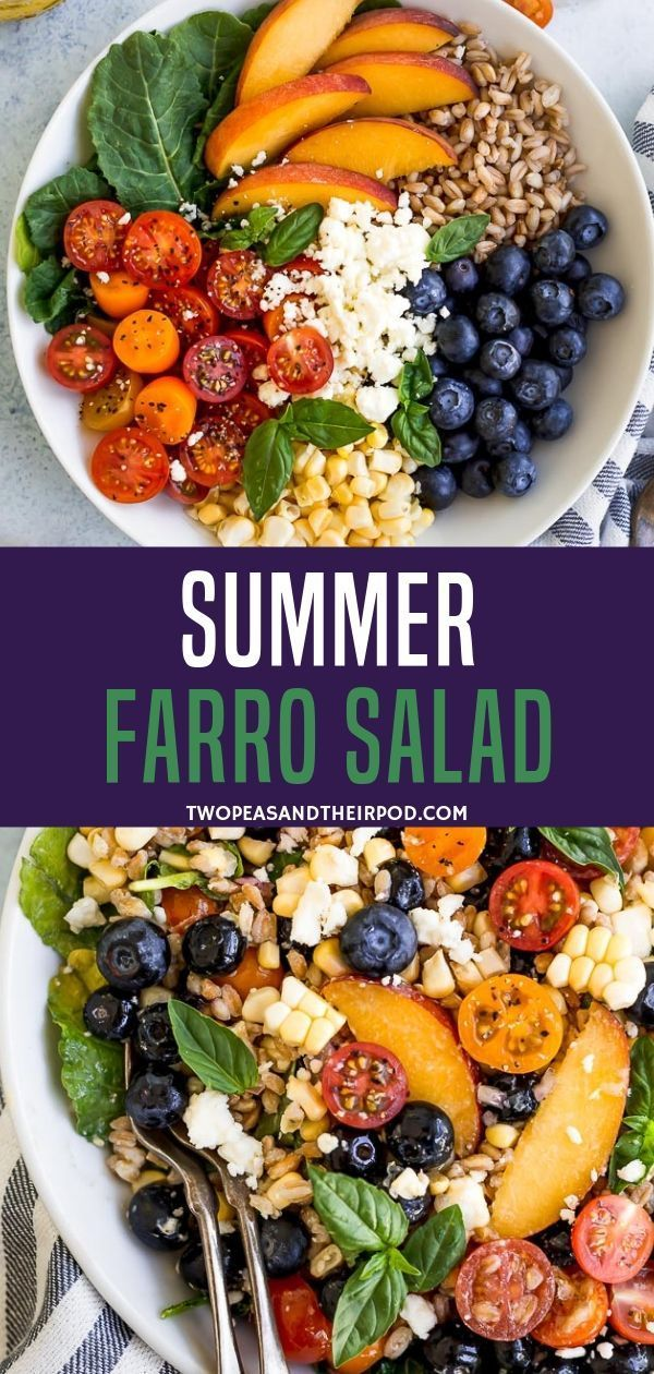 Photo of Take a healthy summer farro salad with tomatoes, cucumber and basil in …