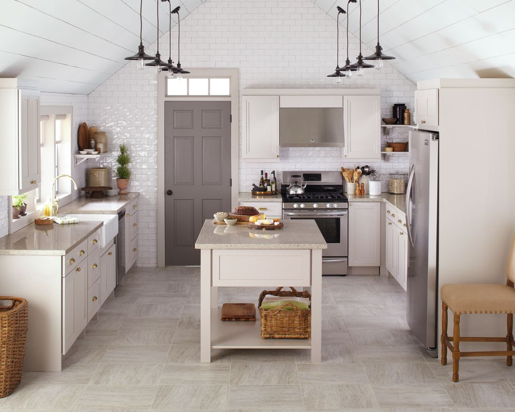 A clean and classic kitchen in a tonal grey palette is stylish and