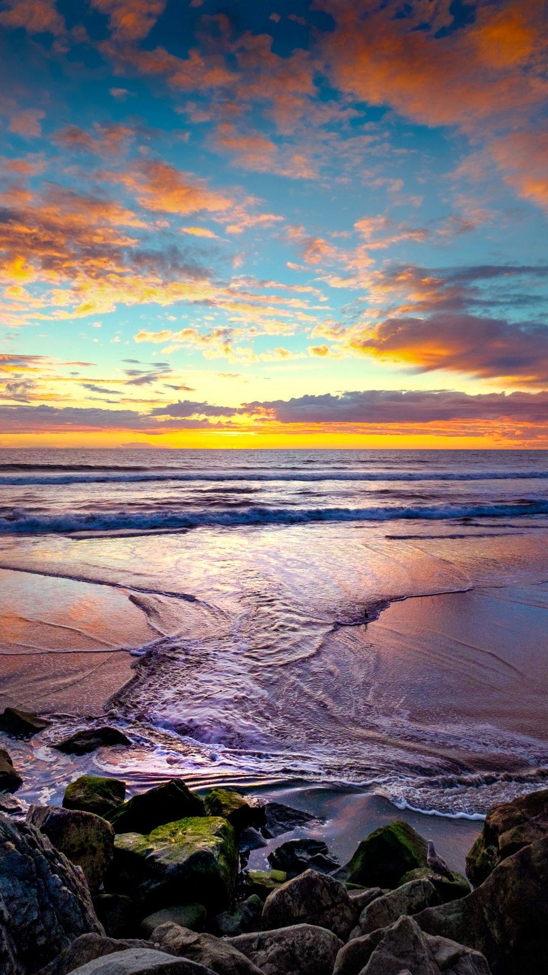 Sea Waves Coast Rocks Sunset Beautiful 1080x1920 Wallpaper Sea Waves Beautiful Wallpapers Aesthetic Photography Nature