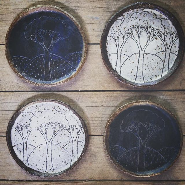 Day and night, trees with hills, side plates. . . . . . #australianceramics#slowliving#day&night#indigo#rustic#ceramics#pottery#sideplates#plates#mountainclay#tree#theartofslowliving#yingyang#kinfolktable#hills