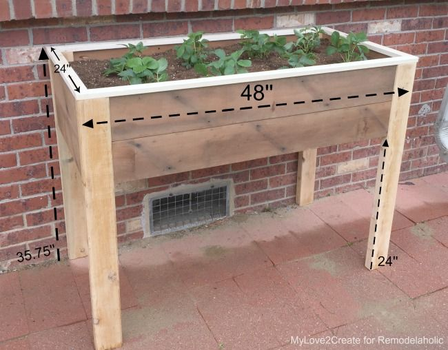 Remodelaholic Build An Elevated Planter Box And Save Your Back Elevated Planter Box Garden Boxes Raised Garden Planter Boxes