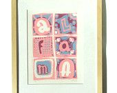 Alfama, Lisbon, Portugal serigrafia/hand pulled screen print in pink and blue. Free Shipping, £25