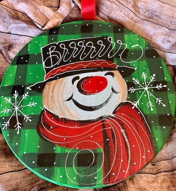 Snowman, Green Gingham, Brrrr, Snowflakes, Door Hanger, Winter Wishes, Welcome, Winter Decor, Hand L #hangersnowflake