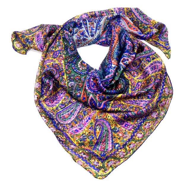 Foulard en soie imprimé violet Palme 100 x 100 cm - Foulard soie carré - Mes 8cc5d85eb86