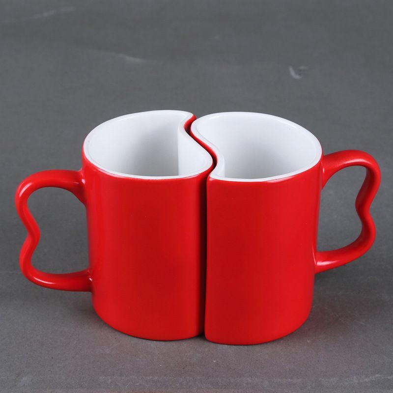 fe6ff78b0 2 pçs set casais criativas caneca mágica   Love Cup   caneca mudança de cor  do copo de café   caneca em forma de coração copo   presente de casamento  ...