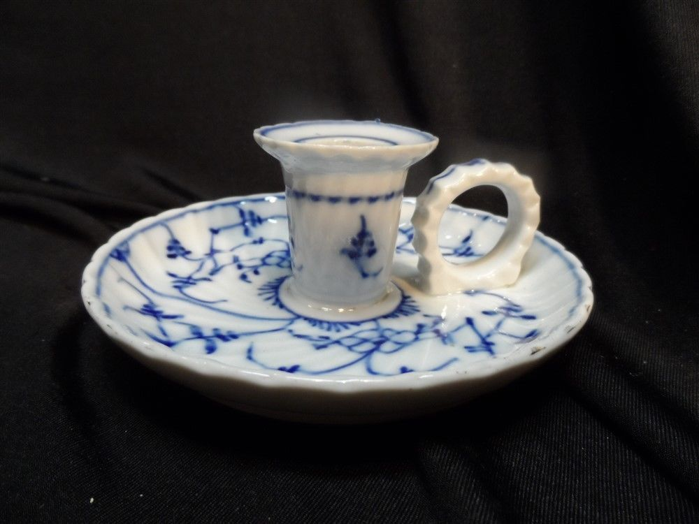 Vintage Flow Blue T Germany Chamber Stick Candle Holder #TGermany