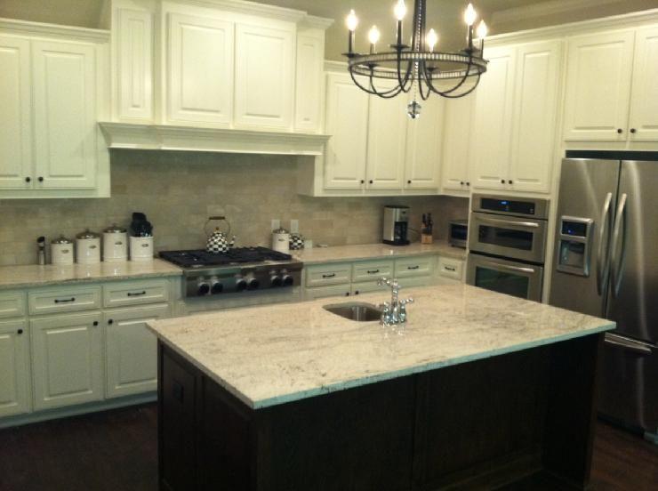 River White Granite Off Cabinets