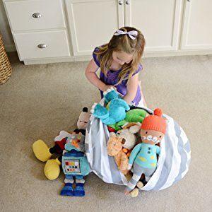 Stuffed Animal Storage Bean Bag Chair Premium Canvas Clean Up