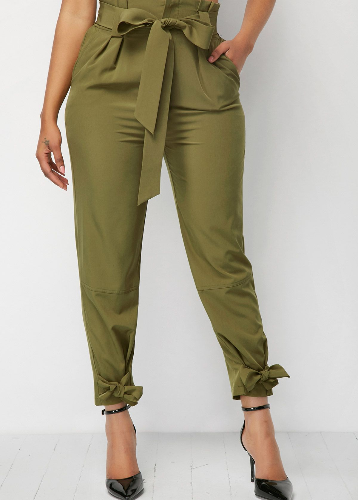 375a26151f9 Trendy womens Bottoms on sale. Army Green Belted High Waist Tie Cuff Pants