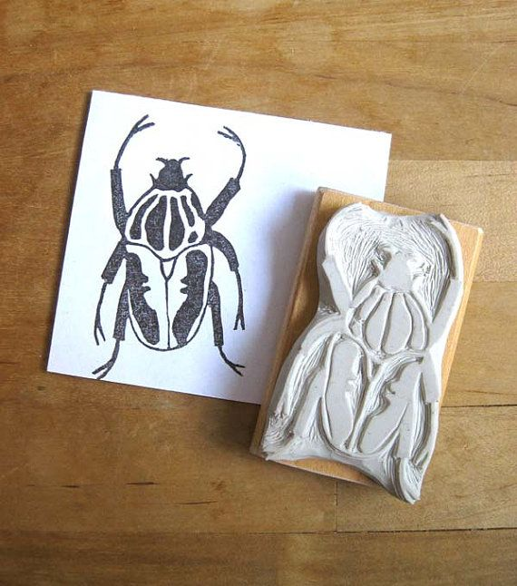 Goliath Beetle Hand Carved Stamp Stamp Pinterest Hand Carved