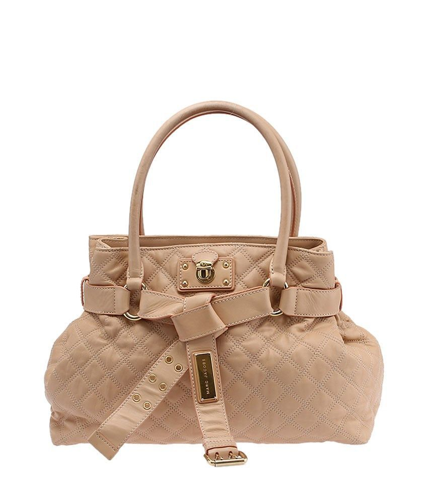 Marc Jacobs Kari Peach Quilted Leather Shoulder Tote