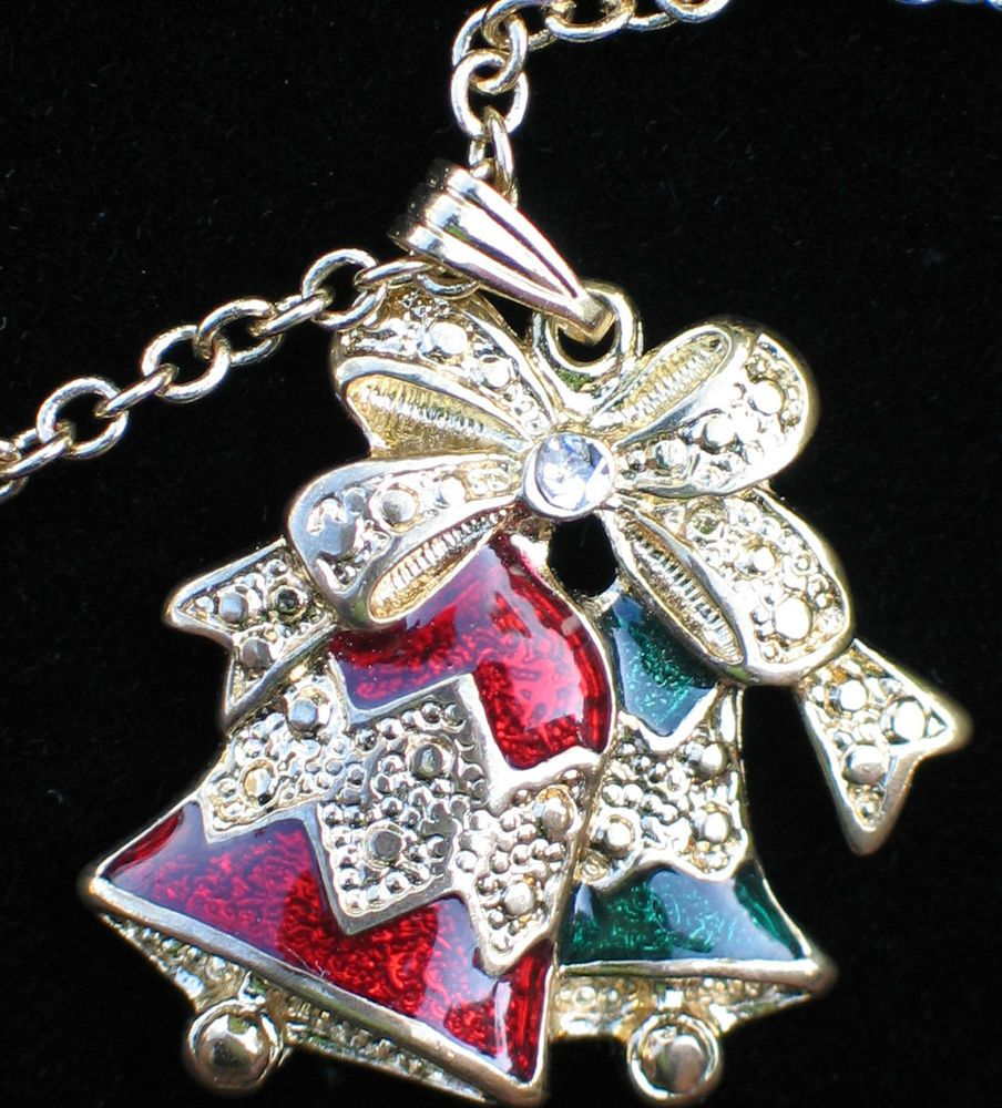 GOLD TONE CLEAR RHINESTONE GREEN RED ENAMEL CHRISTMAS BELL BELLS NECKLACE 10 #Unbranded
