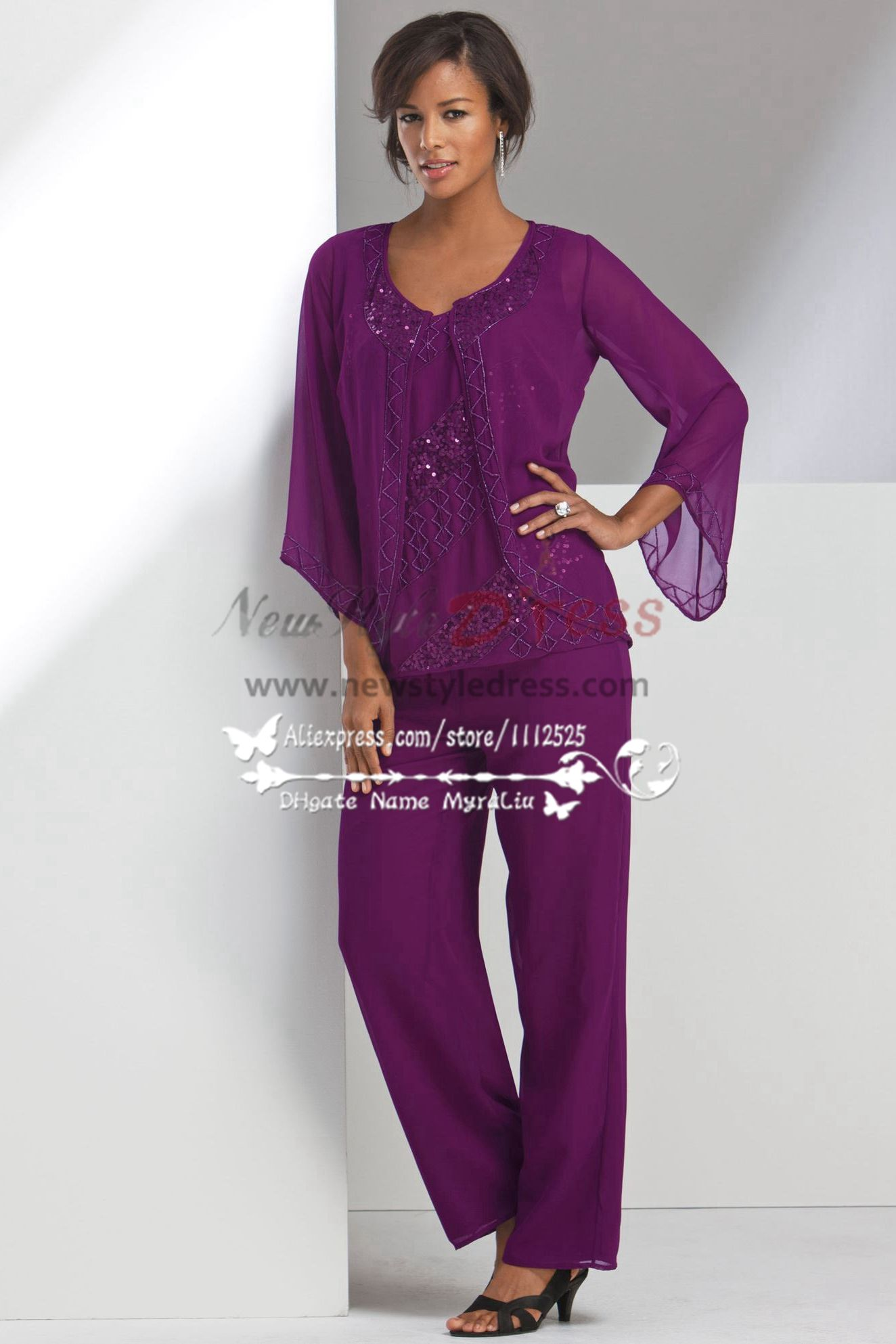Mother of the bride pant suits Beaded Purple chiffon Pantset for ...