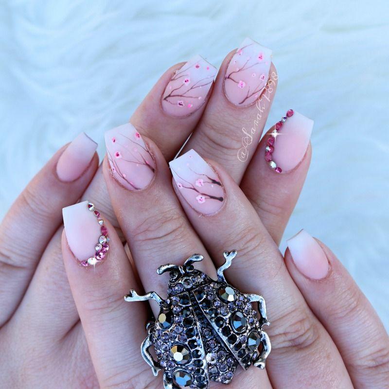 Matte Cherry Blossom Nails Cherryblossom Mattenails Ombrefrench Cherry Blossom Nails Short Coffin Nails Designs Coffin Nails Designs