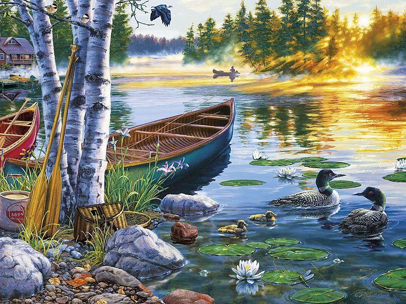 Собирать пазлы онлайн - Утро на озере | Рисунки пейзажей ...