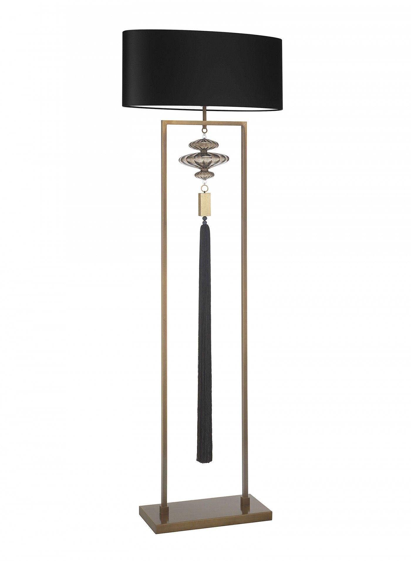 Constance Antique Brass Black Floor Lamp. Lampshade 24