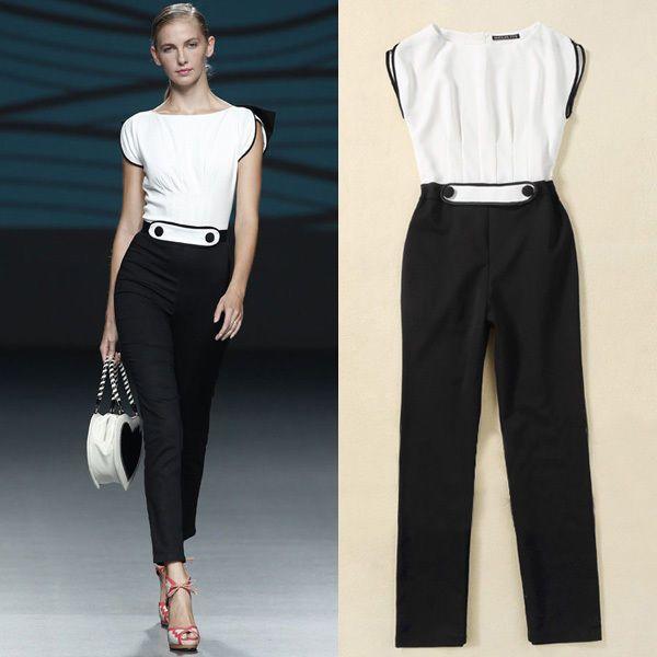 Noir blanc luxe noble femmes parti soir e combinaisons longue pantalons s m l xl combinaisons - Combinaison de soiree ...