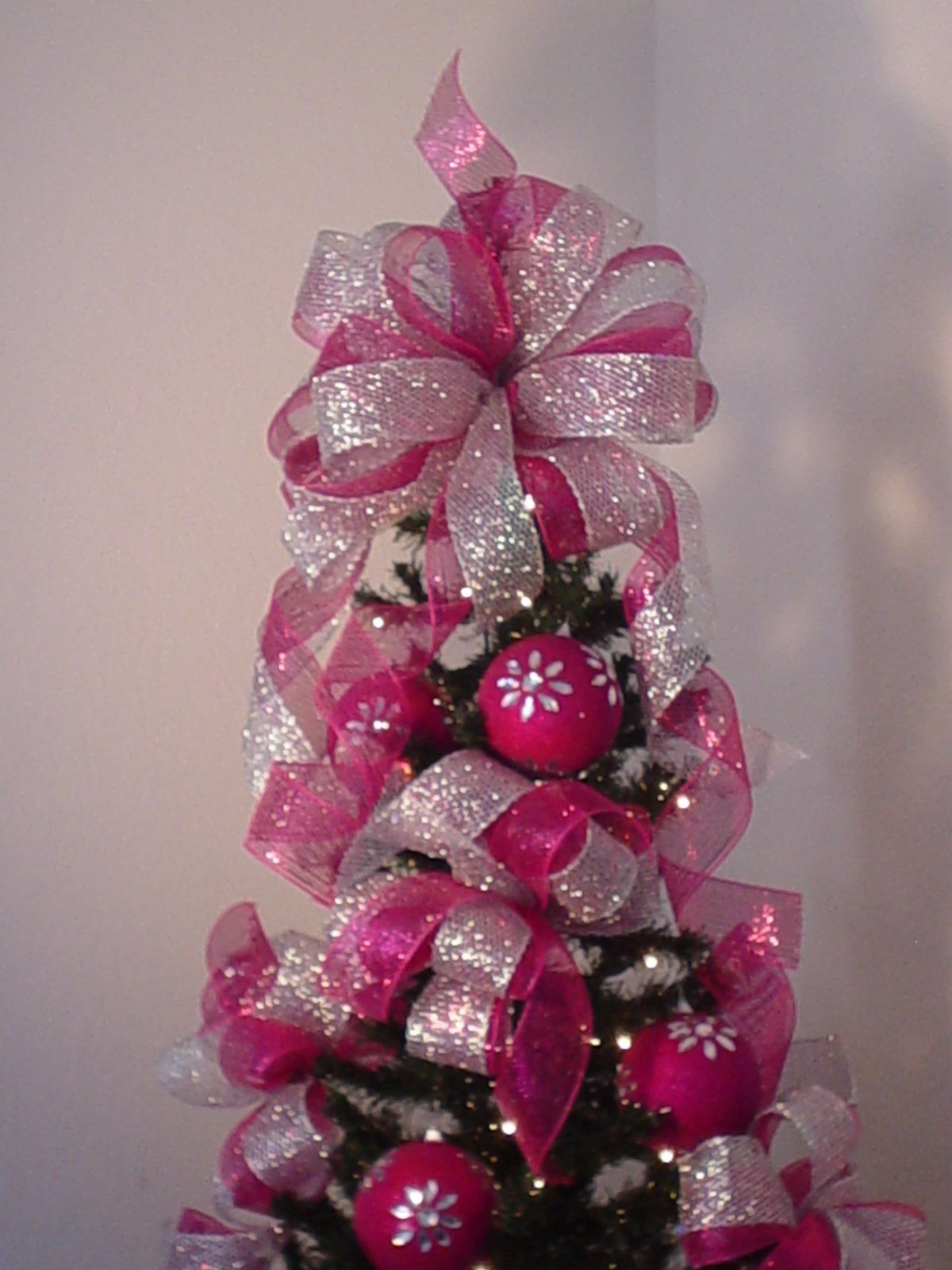 Coordinate Decorations Throughout Your House With Customized Bows For Christmas Christmas Wreaths Diy Pink Christmas Tree Decorations Diy Christmas Tree Topper