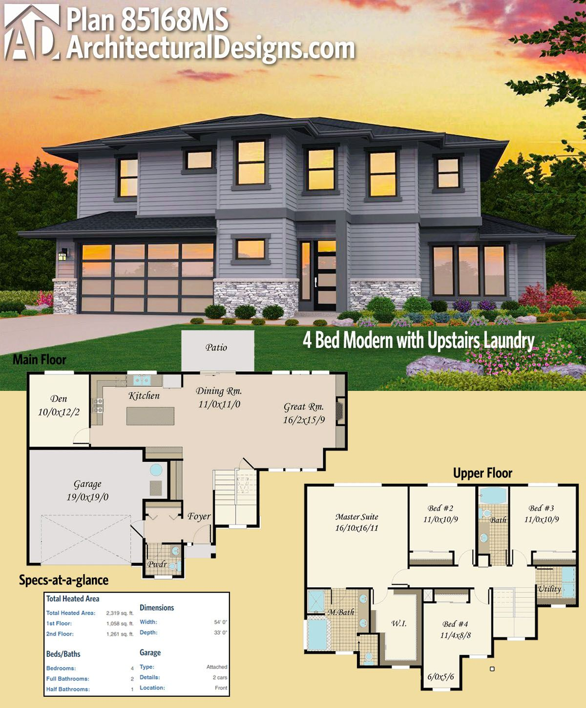 Plan 85168ms 4 Bed Modern With Upstairs Laundry Modern House Plans Modern House Floor Plans House Plans