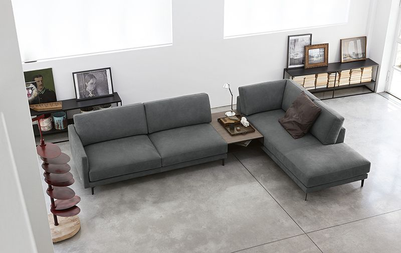 Doimo Salotti - divano moderno in pelle grigio Konnor.   Living ...