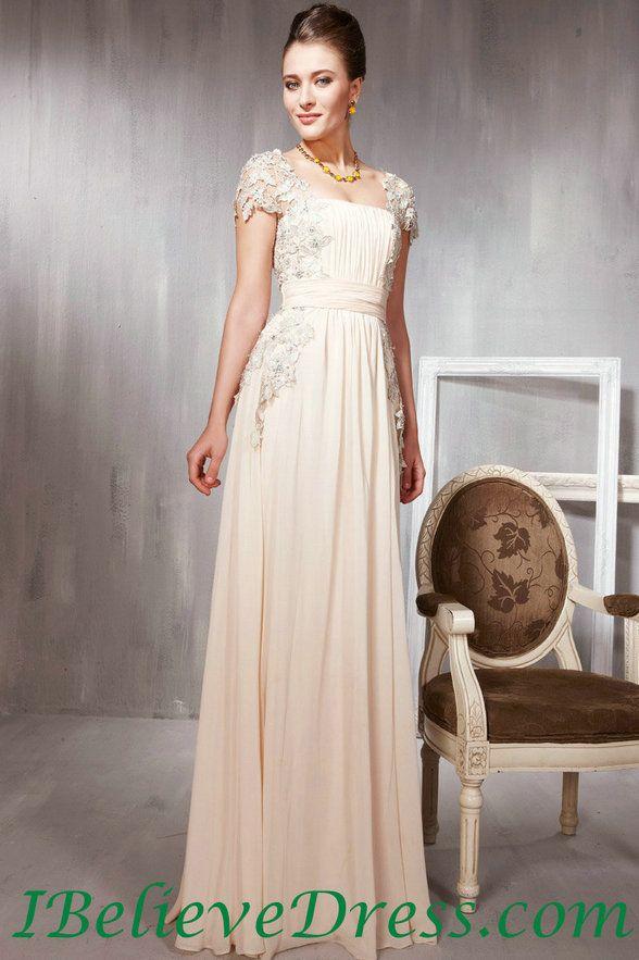Chiffon Lace Cap Sleeves Women Elegant Long Evening Gowns Floor ...