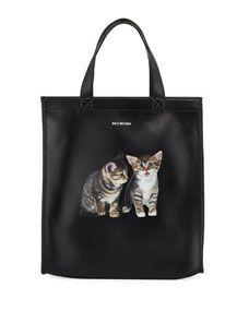 cc9d40cc7411 Balenciaga Men s Market Small Kitten Graphic Leather Shopper Tote Bag