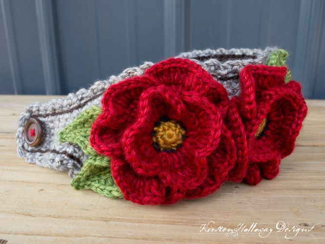 Closeup Of Free Crochet Pattern For Poppy Flower Headband Using The